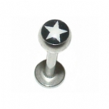Black & White Star Logo Ball Lip Labret Stud