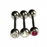 5mm Double Gem Ball Tongue /Nipple Bar