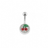 Logo Discoball Crystal Studded Belly Bar - Cherry