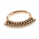 Block Fan Rose Gold Steel Hinged Segment Ring
