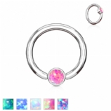 Flat Opal Disk Surgical Steel Ball Closure Ring