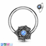 Opal Flower Surround Ball Closure Ring