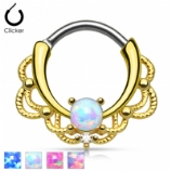 Gold Plated Opal Lace Pattern Septum Clicker Ring