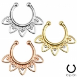Tribal Fan with Clear Gems Fake Septum Clicker
