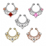 Lace Swirl Square Crystal Fake Septum Clicker