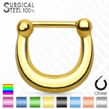 Plain Band Hinged Septum Ring Clicker - Made Entirely From Surgical Steel