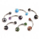 Natural Stone Titanium Curved Barbell - Industrial Strength