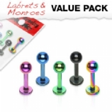 Coloured Micro Labrets Value Pack - 1.2mm - Set of 5