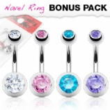 Plain Double Gem Belly Bars Value Pack - White, Pink, Lilac & Aqua